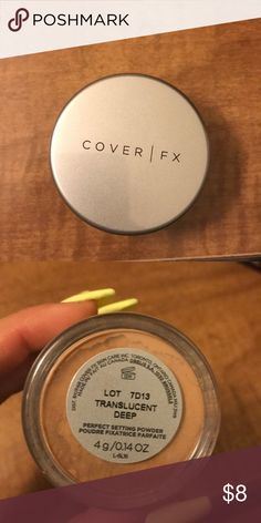COVER FX MINI SETTING POWDER Purchased from sephora in the wrong shade, threw away the box so couldn't return :/ it's brand new & I love this setting powder to bake with!! (In my right shade) Would be great from someone with medium/dark skin!! ❤️❤️😍😍😘 THE BEST SETTING POWDER BETTER THAN THE LAURA MERCIER ONE!! OUT OF STOCK ON SEPHORA WEBSITE!! coverfx Makeup Face Powder