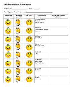 Behavior Modification Charts | Daily behavior chart on task behavior