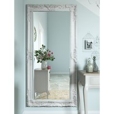 Shabby Chic Mirror! Strategically incline the Leaner Mirror on a wide wall to add a hint of charm to your space. Constructed out of superior-quality beveled glass, this mirror is surrounded by an intricate wooden frame that look gorgeous in all settings. It has a hand-applied finish in multiple colours, which gives you the choice of buying the perfect piece for your decor. The rectangular Leaner Mirror proves to be a great accent in any room. aff link for wayfair