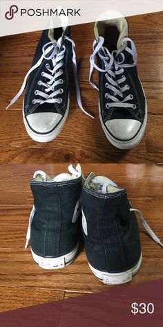 Black converse Black and white, kinda worn but they look better like that anyway😉 please feel free to make an offer MENS 9 / WOMENS 11 Converse Shoes Sneakers
