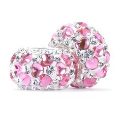 Set of 2 - Bella Fascini Sweethearts Love Heart Crystal Pave Sparkle Bling - White/Clear Crystal Pave with Pink Hearts - Solid .925 Sterling Silver Core European Charm Bead Made with Authentic Swarovski Crystals - Compatible Brand Bracelets : Authentic Pandora, Chamilia, Moress, Troll, Ohm, Zable, Biagi, Kay's Charmed Memories, Kohl's, Persona & more! Bella Fascini Beads,http://www.amazon.com/dp/B00H6VMTMS/ref=cm_sw_r_pi_dp_HvuTsb1TKVMW66Z6
