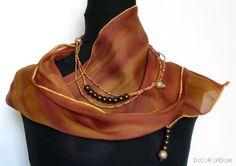 sciarpa arancio,stola,collana maxi,sciarpa leggera,arancione,chiffon,perle oro…