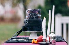 Edgy black modern wedding cake. Constellation wedding cake.