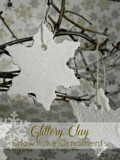 Glittered clay snowflake ornaments {dollar store crafts} #ornaments #craft #christmas
