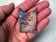 Raku Cat Bead with Paw Print Handmade by spinningstarstudio, $7.00