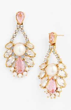 kate spade new york 'sunrise cluster' chandelier earrings available at Nordstrom Jewelry Box, Jewelry Accessories, Fashion Accessories, Jewelry Design, Pearl Chandelier, Chandelier Earrings, Pearl Earrings, Crystal Chandeliers, Pink Earrings