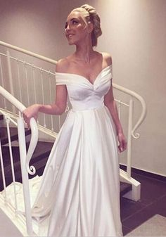 Off the Shoulder Charming Wedding Dress,White Dress,Simple Wedding Dress,Long Train Wedding Dress,Custom Made Wedding Gowns by lass, $156.00 USD