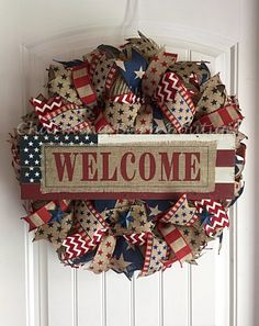 4th of July Wreath, July 4th Wreath, Welcome Wreath, Flag Wreath, Patriotic Wreath, Burlap Wreath, July 4th Decor, Patriotic Decor