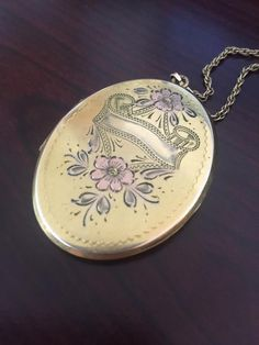Large Oval Locket with Pink Flowers Etched 12kt by RibbonsEdge