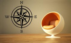 Compass Rose Sticker, Nautical Sticker Compass Rose Decal, Nautical Wall Decal on Etsy, $12.00
