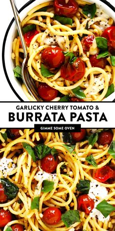 This garlicky pasta with burst cherry tomatoes, burrata cheese and fresh basil is easy to make in less than 30 minutes and outrageously delicious! Feel free to add in some chicken or shrimp or extra veggies too, if you would like. | gimmesomeoven.com #pasta #burrata #cheese #mozzarella #italian #tomato #sauce #basil #dinner #easy Italian Dishes, Italian Recipes, Pasta Dishes, Food Dishes, Side Dishes, Main Dishes, Pasta Recipes, Cooking Recipes, Pasta Meals