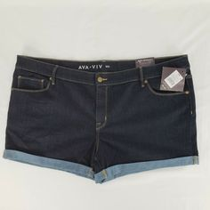 166f6ab8fca Ava Viv Blue Jean Shorts Plus Size 24 Denim Womens Dark Wash Stretch Mid  Rise