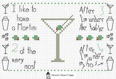Boozy Dorothy Parker Martini Poem Cross Stitch Sampler Free  at Hancock's House of Happy