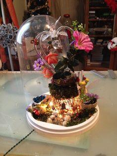 Fairy garden from a wedding cake topper