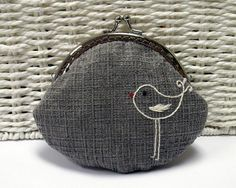A Little Bird Coin Purse in Grey by HanhansStitching on Etsy, $35.00