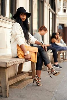 F/W Chunky knit slouchy sweater, leather cropped pants, leopard pumps and oversized clutch