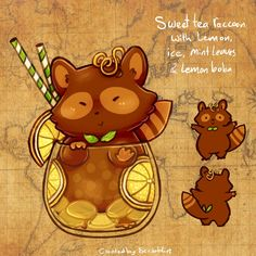 12. March calendar Teacats - Sweet tea by scribblin