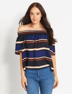 Shop our range of women's tops. From party and fashion tops to casual and basics, tees, crop tops & more. Off Shoulder Blouse, Knitwear, Sadie, Crop Tops, Tees, Pretty, Casual, Shopping, Beauty