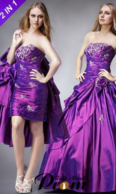 Purple Quinceanera Prom Dresses With Removable Skirt TAP0181 [TAP0181] - $201.00 : TalkAboutProm, Cheap Prom Dresses 2012~2013 - Formal, Cocktail & Prom Gowns