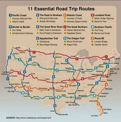 Essential road trip routes from roadtrip usa.definitely on the bucket list Travel Usa, Travel Tips, Travel Deals, Travel Essentials, Paris Travel, Travel Packing, Road Trip Packing List, Road Trip Planner, Travel Flights
