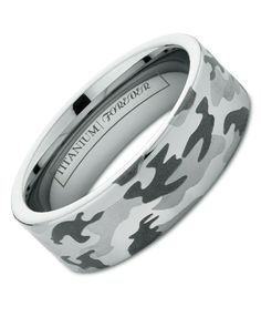 SPITFIRE 6MM / 8MM  Camo has finally come to titanium! Our most popular laser design has long been on tungsten rings and even cobalt chrome bands, finally you can get the lightweight feel of titanium that you love with the unique design of our exclusive 3-color camouflage laser pattern. This durable titanium band of unrivaled strength is made that much more rugged with camo design and available in 6mm or 8mm widths.