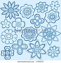 stock vector : Hand-Drawn Outline Flowers Doodles on Blue Background- Vector Illustration