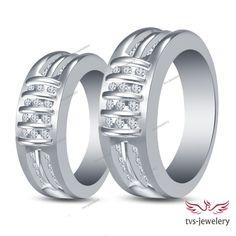 His/ Her Men's Women's 14k White Gold Finish Engagement Diamond Couples Band Set #tvsjewelery