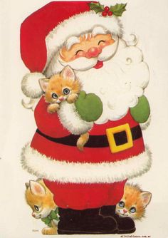 Vintage Greeting Cards, Vintage Christmas Cards, Christmas Cats, Christmas Pictures, Christmas Time, Christmas Stockings, Merry Christmas, Alcohol Ink Crafts, Winter Painting