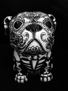 2 of 12: Day of the Dead  Sugar Skull Bull Dog Statue Cookie Jar Dia Los Muertos Pet Urn