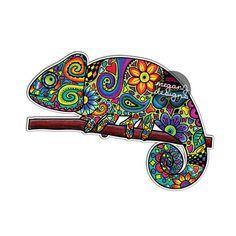 Camaleón coche diseño colorido pegatinas portátil por MeganJDesigns