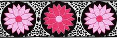 """Woven Jacquard Ribbon - Daisy Dot Flower in Black, White, Pink  and Lt. Pink 1 7/8"""" x 2 1/4  yds  DDF6- 1 available"""
