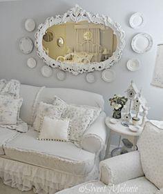Shabby Chic Cottage living room sofa & wall decor