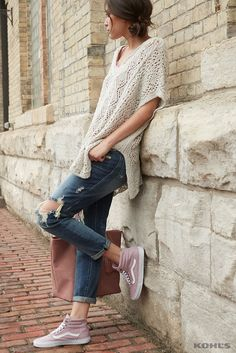 Relaxed, comfortable style has never looked so good. Pair a loosely fitted sweater with distressed jeans and statement sneakers to get the look. Featured product includes: crochet poncho sweater; Rock & Republic distressed jeans; tassel tote; and Vans high-top skate shoes. Shake up your style with Kohl's.