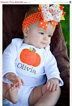 CIJ SALE 15% off - Fall Pumpkin Monogrammed Onesie or Shirt, CIJ, Christmas in July. $18.70, via Etsy.