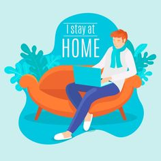Stay at home concept Free Vector Graphic Design Templates, Modern Graphic Design, Illustration Story, Lets Stay Home, Themes Free, English Lessons, Infographic Templates, Print Design, Vector Free