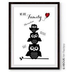 Der Kunstdruck Familie kann mit bis zu 5 Vornamen der Familienmitglieder personalisiert werden. Ein sympathisches Geschenk zum Einzug oder Hausbau.
