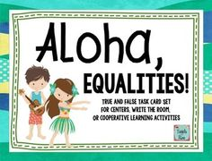 Awesome task card set for teaching equalities. Perfect for 1.OA.6