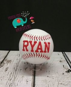 Personalized Embroidered Baseball with stand sports team gifts
