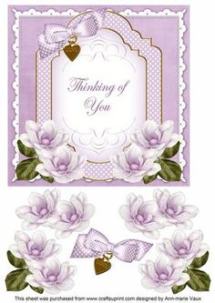Lilac Magnolia Thinking of You Fancy 7in Decoupage Topper on Craftsuprint - Add To Basket!