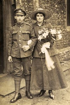 1916. A young soldier from the Suffolk Regiment of the British Army marrying his sweetheart, before leaving to fight in France.