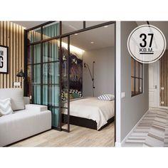 Interior Living Room Design Trends for 2019 - Interior Design Condo Interior Design, Small Apartment Interior, Industrial Bedroom Design, Small Apartment Design, Condo Design, Studio Apartment Layout, Studio Apartment Decorating, Modern Studio Apartment Ideas, Studio Condo