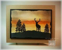 Crafting The Web: Majestic Morning Card Making Tutorial, sponged background on this card and silhouette stamps
