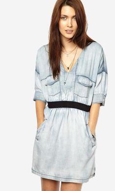 Made from 100% pure cotton. Easy-care, lightweight, denim-look fabric. Deep V-neckline. Dropped shou...