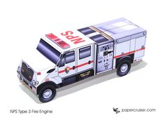 NPS Type 3 Fire Engine paper model | papercruiser.com