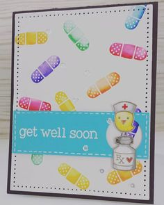 Day 4: Made another 'get well' card since the stamp set was out :) #thedailymarker30day #lawnfawn #zigcleancolor
