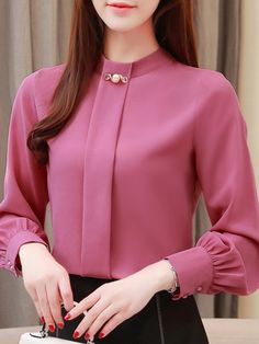 Band Collar Elegant Long Sleeve Blouse Band Collar Elegant Long Sleeve Blouse , formal dresses maxi dresses womens dresses summer dresses party dresses long dresses casual dresses dresses for wedding , # Blouse Styles, Blouse Designs, Short Outfits, Spring Outfits, Blouse Band, Blouse Dress, Ärmelloser Pullover, Cheap Clothing Websites, Designs For Dresses