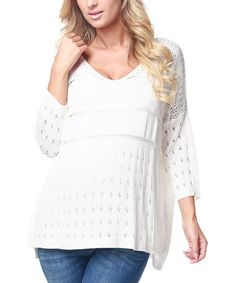 Take a look at this White Three-Quarter Sleeve Maternity Sweater by PinkBlush Maternity on #zulily today!