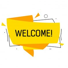 Welcome Lettering In Yellow Origami Speech Bubble With Triangles. Origami, Welcome To The Group, Color Street Nails, Vector Photo, Vector Free, Bubbles, Social Media, Lettering, Yellow