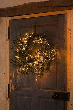 Wreath with christmas lights