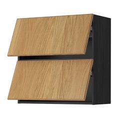 METOD Sza śc poziom 2 drz - Hyttan okl dęb, imitacja drewna czarny, 80x80 cm - IKEA